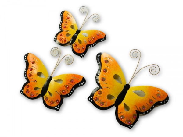 Metal Butterfly Wall Art - Orange - Set of 3